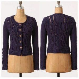 Anthropologie Rosie Neira Wavy Cables cardigan